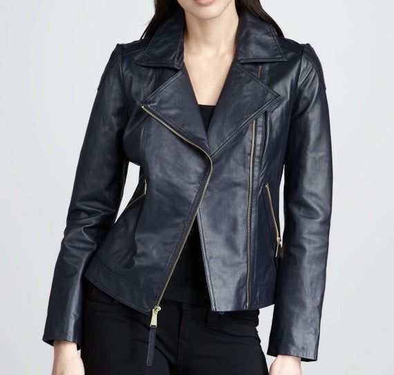 Womens Soft Lambskin Navy Blue Leather Stylish Jacket Upper Genuine Leather Int In 2021 Leather Jackets Women Leather Motorcycle Jacket Women Custom Leather Jackets