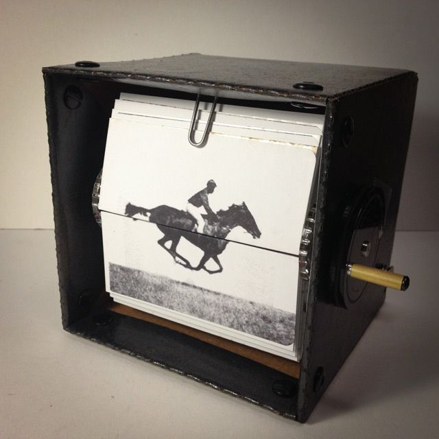 In 2011 kinetic artists Mark Rosen and Wendy Marvel created a series of wonderful mechanical flipbooks based on the work of Eadweard Muybridge, the guy responsible for pioneering photographic studies of motion. Ascension and Leapfrog are my favourite. Videos of the mechanic flipbooks can be seen at: http://www.mechanicalflipbook.com/