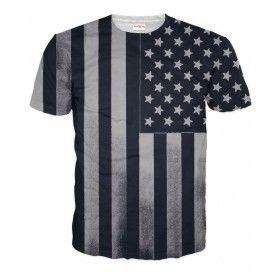 Black and White American Flag T-Shirt