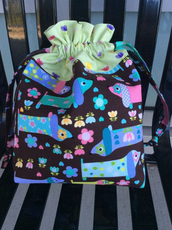 Fun Wiener Dog Padded Drawstring Craft Project Bag by KnittersNook, $22.00