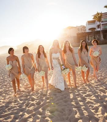 Tan bridesmaid dresses to match the sand!