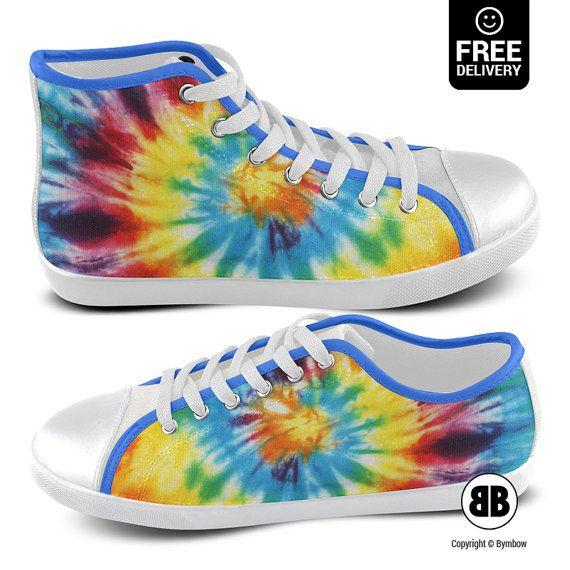 TIE DYE Sneakers Tie Dye Shoes Tie Dye High Top Tie Dye by BYMBOW
