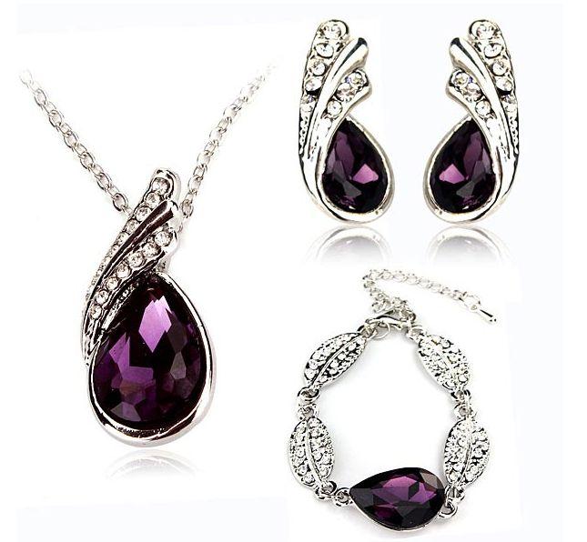 Online Make Money with TripleClicks and SFI - Atom: Teardrop Crystal Necklace Earrings Bracelet Jewelr...
