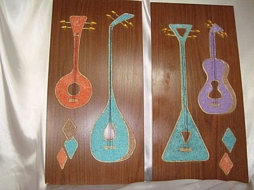 MID-CENTURY-MODERN-ATOMIC-MUSIC-guitars-WALL-ART-Vtg-Gravel-50s-Mosaic-Pebble