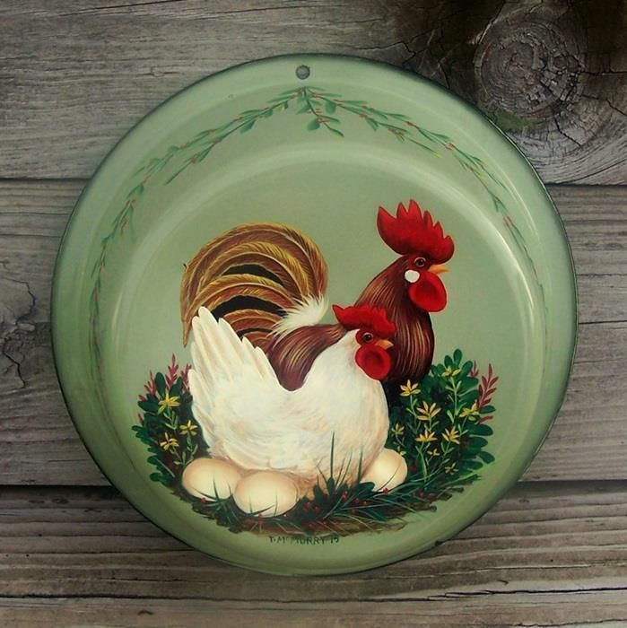 10.5in wide x 3.5in deep Vtg Green GRANITEWARE Bowl Pan HP HEN ROOSTER HandPainted Rooster Art T. McMurry #CountryROOSTERART