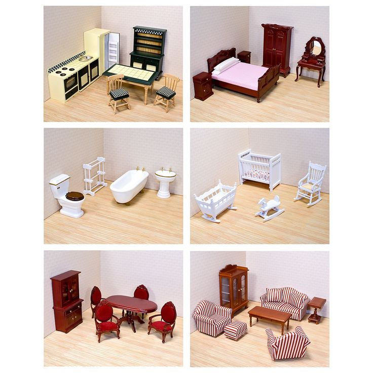 Melissa and Doug 6 Room Furniture Set-1 Inch Scale - MAD091