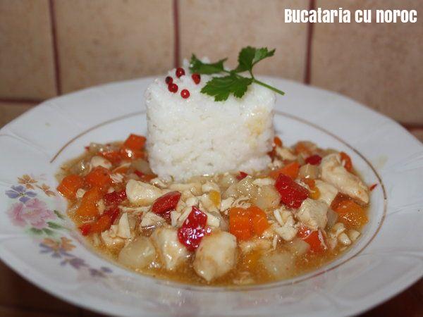 Pui picant cu sos de soia - Bucataria cu noroc