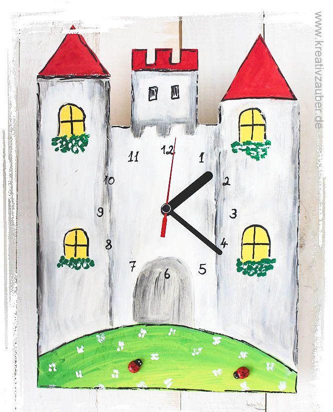 Kinderzimmer Uhr basteln ★ Ritterburg Uhr basteln ★ inklusive Anleitung, Rohling aus Holz, Herzen, Uhrwerk und Zeiger ★ als Wanduhr oder Standuhr ★ Uhrenbasteln im Shop www.kreativzauber.de i