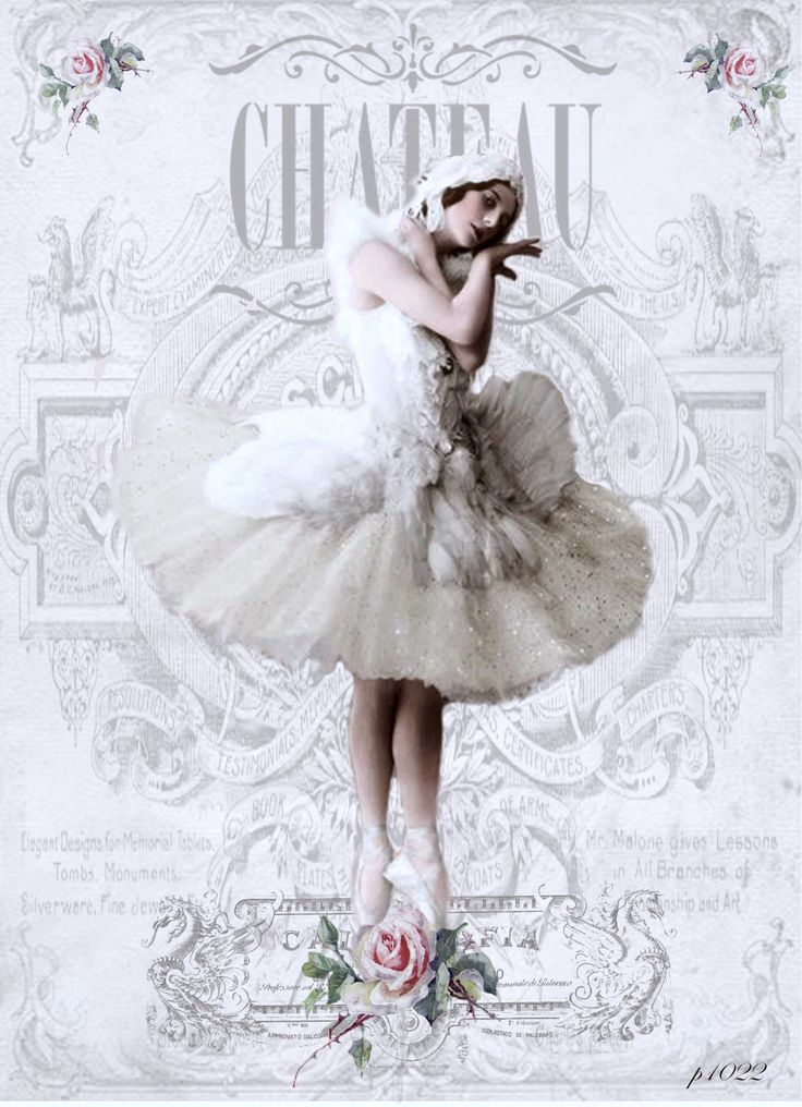 Vintage ballerina bl Digital collage p1022 free for personal use..
