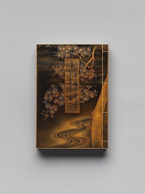 """Incense Container (Kōgō ) in the Form of a Book, with the title""""Hana no En"""" (Festival of the Cherry Blossoms), Chapter 8 of The Tale of Genji   Japan   Edo period (1615–1868)   The Met"""
