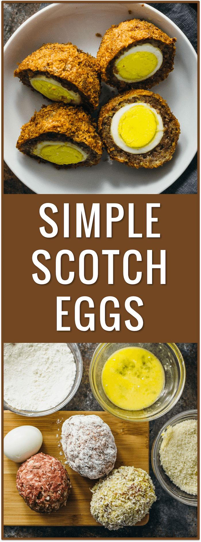 simple easy scotch eggs, baked, fried, sauce, scottish, irish, british, ground meat, pork sausage, dinner recipe, protein, portable snack via @savory_tooth