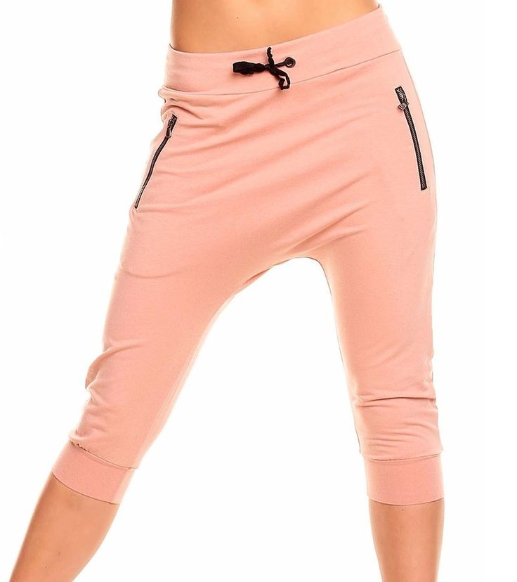 Damen  Capri Hose Jogginghose  Pumphose Vintage Rosa- Schwarz Neu Gr.M