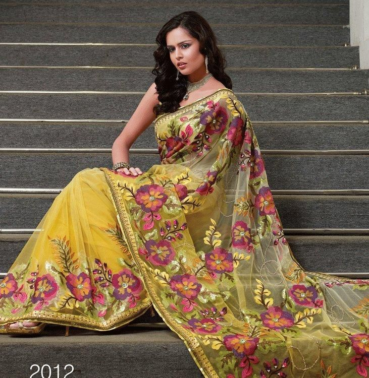 Yellow Color Net Sarees - cheap Yellow Color Net Sarees and Yellow ...
