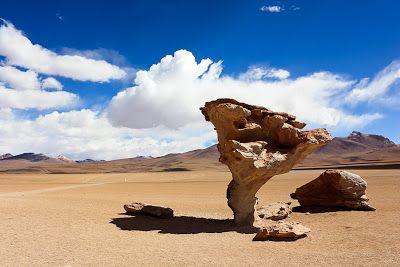 . Árbol de piedra (Bolivia). En el desierto de Siloli, en el suroeste de Bolivia, podemos encontrar esta extraña roca. Con una altura de 5 metros ha sido erosionada por el viento durante millones de años, para darle una forma que recuerda a un árbol.LAS 10 ROCAS MÁS EXTRAÑAS DEL PLANETA