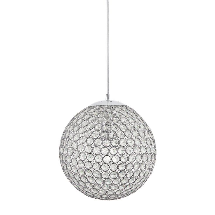 Kichler Lighting Krystal Ice 11.81-in Chrome Crystal Single Crystal Globe  Pendant 34740
