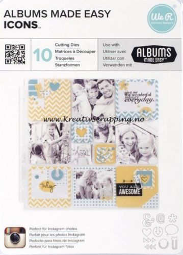 WE R MEMORY KEEPERS - ALBUM MADE EASY 03848 - WORDS Dies fra WE R MEMORY KEEPERS. Kan brukes til papir, kork, washi tape, tynne chipboard o.l. Add die-cut shapes to scrapbooking pages with the Albums Made Easy die kits. Dies will cut and emboss with most die-cutting tools and coordinate perfectly with any pocket page program making it easy and fun to add new icons and shapes to pocket sleeves.