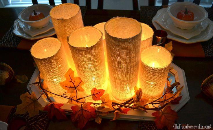 burlap candle centerpiece fall thanksgiving