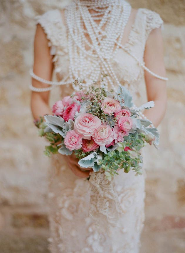 Pink and silver bouquet + gorgeous Claire Pettibone dress