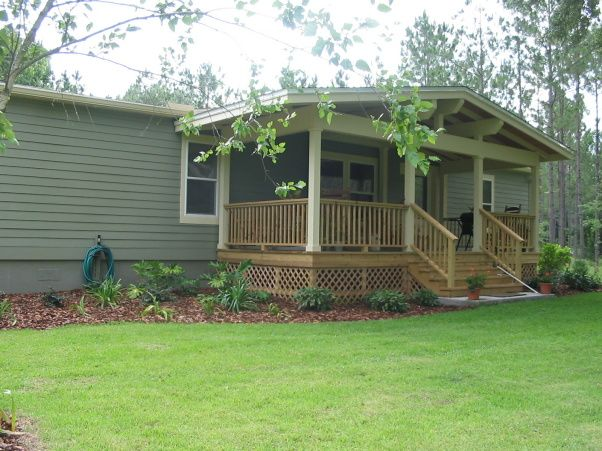 Front Porch Addition And Landscaping, One Of A Kind Front Porch Addition  With A Craftsman. Mobile Home ...