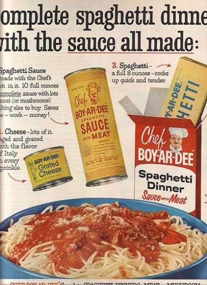 vintage chef-boy-ar-dee spaghetti ads | Chef Boy-Ar-Dee's Spaghetti Dinners (1960)