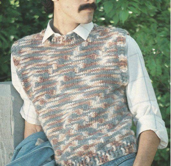 Crochet Mens Pullover Vest Pattern Vintage Round Neck Etsy In 2020 Vest Pattern Pullover Men Vintage Patterns
