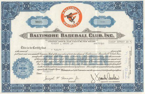 Beautiful and real Orioles stock certificate from the Baltimore Baseball Club Inc, dated 1971.  Excellent vignette of the Baltimore Orioles logo.