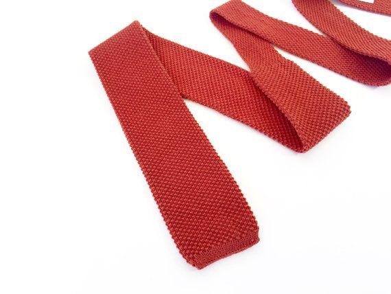Vintage Square Knit Tie / 1980s Knit Tie / Cotton by fourBvintage