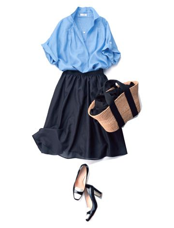 airy blue blouse, airy black midi skirt
