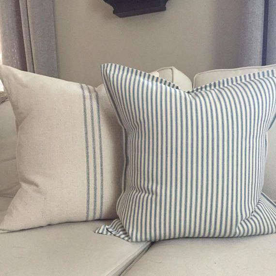 throw pillow set of 2 blue stripe grain