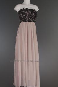 Beige lange jurk met zwarte kanten top en elastiek 1482