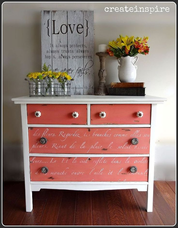 Coral Chalk paint drawers? Porcelain knobs.  Hometalk :: Dresser Rescue!