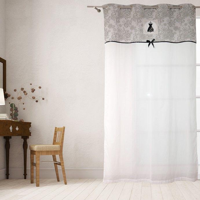 rideau voilage blanc avec bande imprime