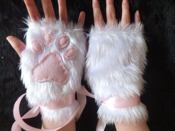 Cute White Furry Cat Snow Fox Neko Pink Paw by KittenTreasures