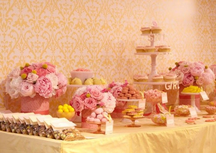 pink & yellow dessert table #2
