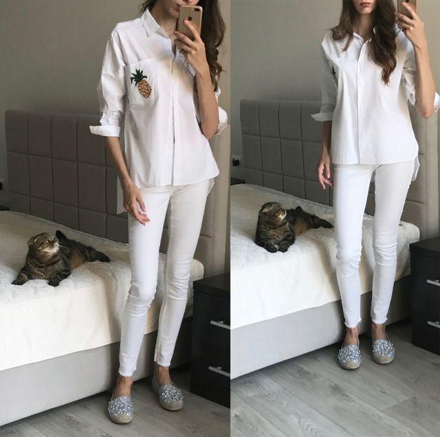 US $17.36 -- Фкз весна/Летняя блузка женские свободные хлопковые Рубашки с отложным воротником Белый ананас карманов длинный рукав женская одежда купить на AliExpress