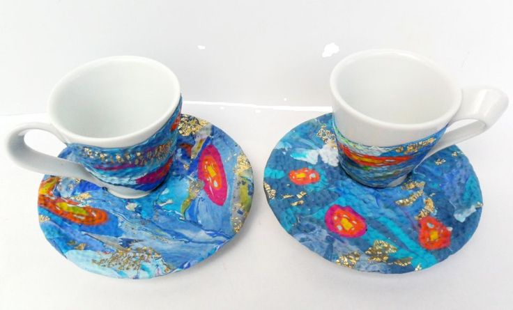 Kalimera - set cesti cafea cu farfurioare de handmade.madbazaar
