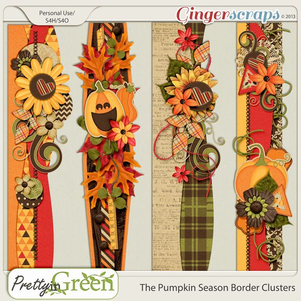 The Pumpkin Season Border Clusters  4 pre-made border cluster elements that coordinate with The Pumpkin Season kit and add on packs. Shadowed versions included.