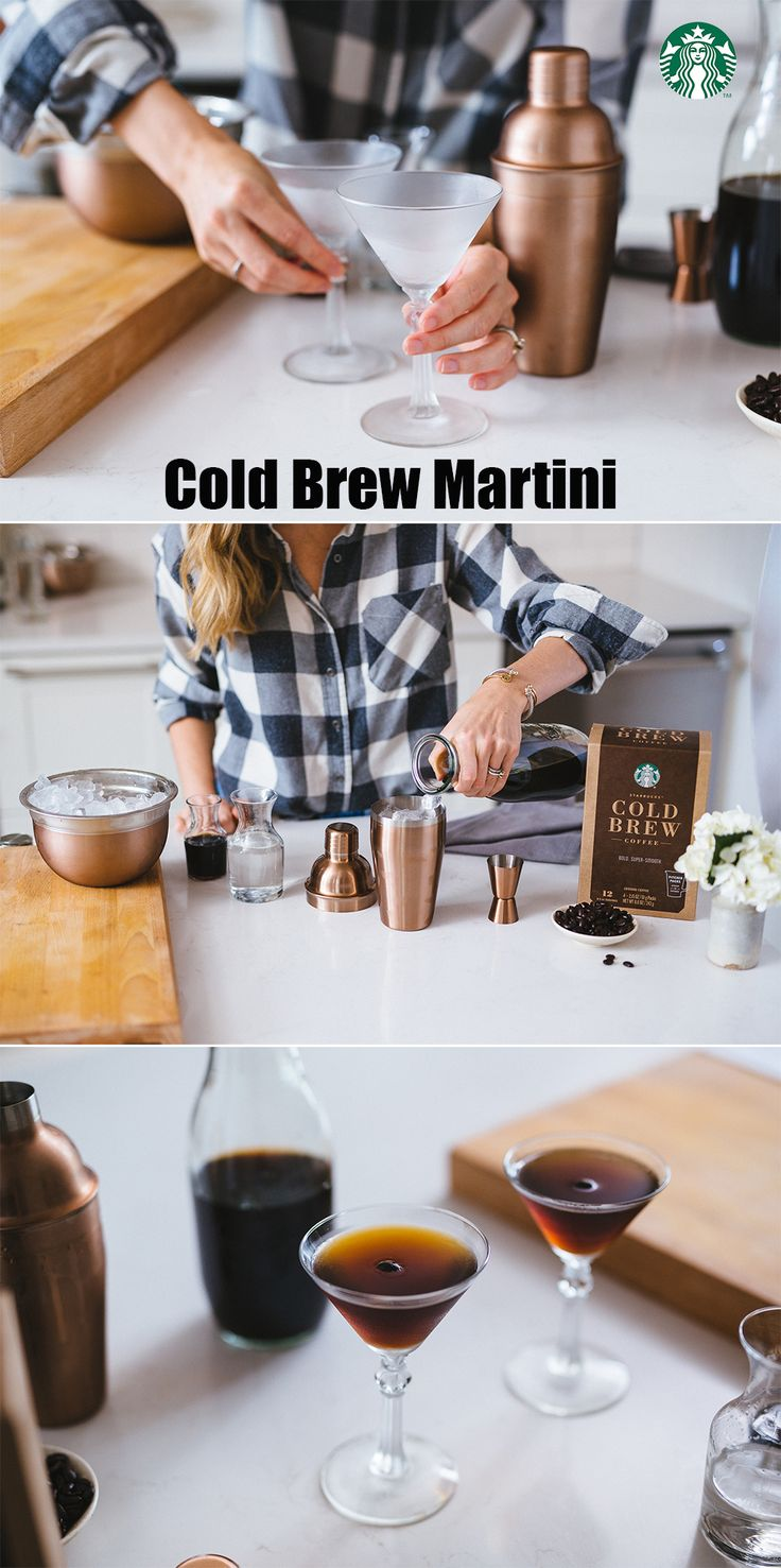 Cold Brew Coffee Martini - Place 2 martini glasses in the freezer to chill up to 1 hour. Put 1 espresso bean in the bottom of each glass. Pour 2oz cold brewed coffee, 4oz vanilla-flavored vodka and 2oz coffee-flavored liqueur into a shaker filled with ice. Shake vigorously. Strain into the chilled glasses, serve and enjoy.