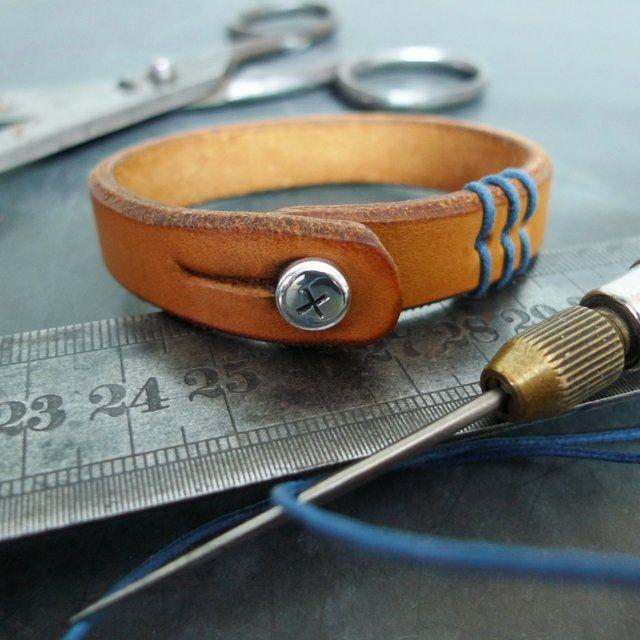 Blue Stitched Leather Bracelet by 877