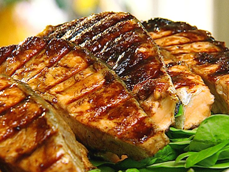 Grilled Salmon with Chinese Barbeque Sauce from FoodNetwork.com: Grilled Salmon, Seafood Recipes, Foodie, Bbq Sauces, Chinese Barbeque, Barbeque Sauce Recipes, Fish Recipe