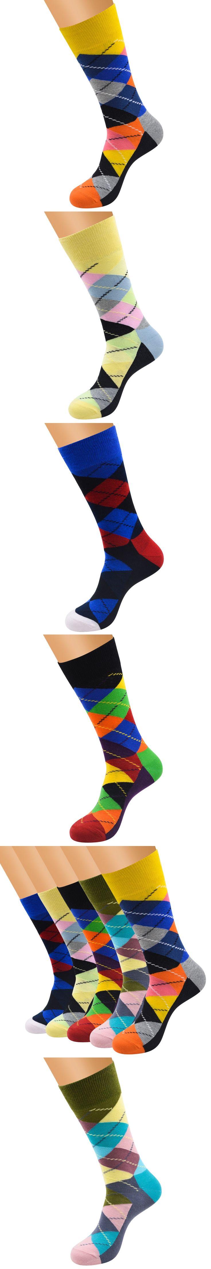 Colored Diamond Jacquard High Socks For Men Gentlemen British Popular Stockings Man Street Harajuku Sock Festival Gift Socks