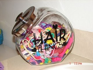I could find a cool vintage treat jar for organizing kiddy hair accessories