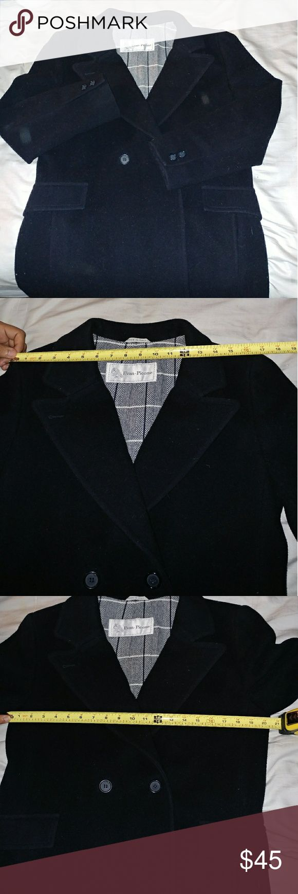 Women's Peacoat 100% Wool All measurements are provided by photo.  100% Wool Made in Italy Purchased at Neiman Marcus Last two photos show minor show of wear *Does need to be dry cleaned* Evan Picone Jackets & Coats Pea Coats