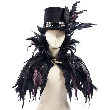 Witch costume inspiration. A beautifully textured and layered faux feather cape.