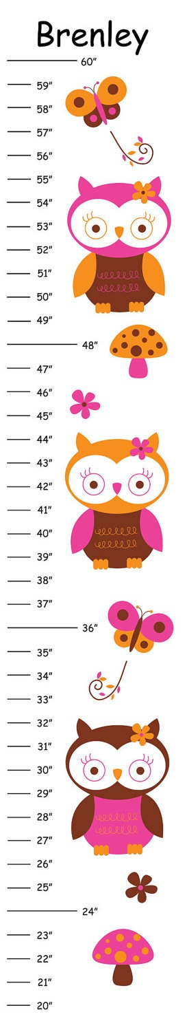 Personalized Tropical Owls Canvas Growth Chart. $20.00, via Etsy.