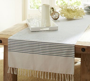 Perfect Pinstripe Table Runner #potterybarn