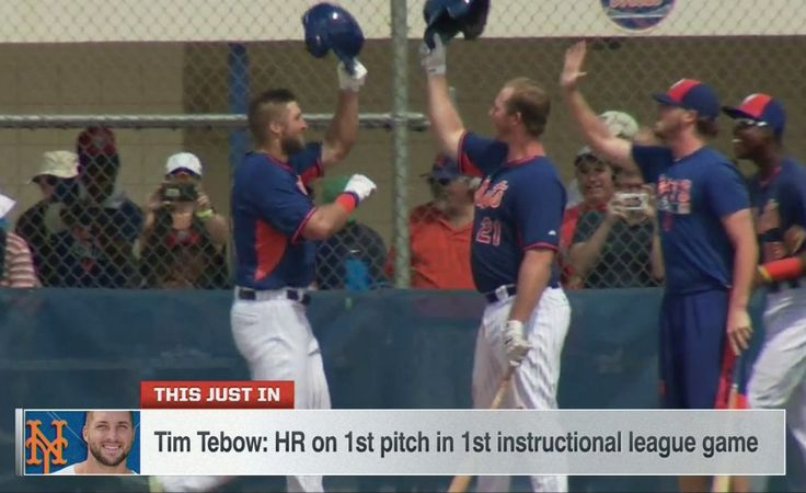 Tim Tebow Hits Home Run on First Pitch as Pro Baseball Player