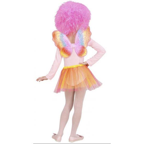 De regenboog fee set voor kinderen bestaat uit een roze met oranje tuturok en vleugeltjes in regenboog kleuren. Deze kleuren lopen in elkaar over. De vleugeltjes zijn te bevestigen door middel van elastiek. Omvang rokje: ca. 44 cm.
