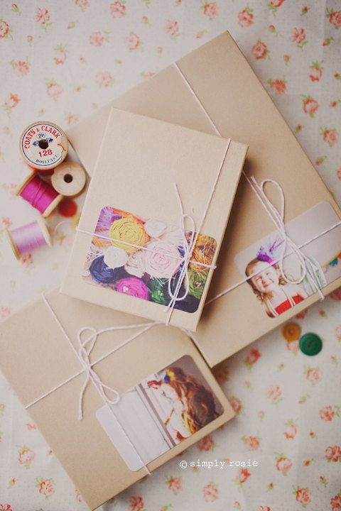 Photo tags with kraft paper.