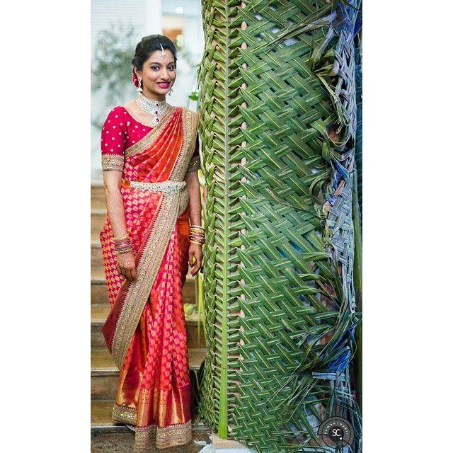 South Indian bride. Diamond Indian bridal jewelry.Temple jewelry. Jhumkis. Red silk kanchipuram sari.Braid with fresh flowers. Tamil bride. Telugu bride. Kannada bride. Hindu bride. Malayalee bride.Kerala bride.South Indian wedding.